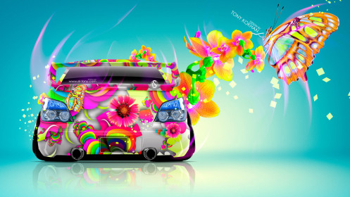 Subaru-Impreza-WRX-STI-JDM-Back-Fantasy-Butterfly-Flowers-Car-2014-Photoshop-Multicolors-HD-Wallpapers-design-by-Tony-Kokhan-[www.el-tony.com]