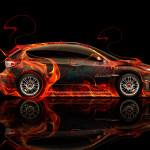 Subaru Impreza WRX STI JDM Side Fire Abstract Car 2014
