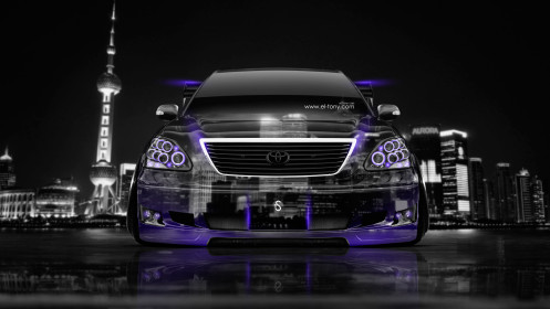 Toyota-Celsior-JDM-Tuning-Front-Crystal-City-Car-2014-Photoshop-Violet-Neon-design-by-Tony-Kokhan-[www.el-tony.com]