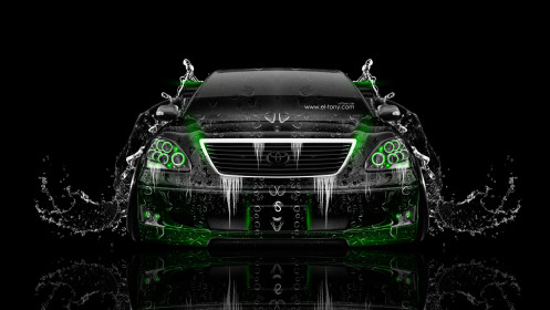Toyota-Celsior-JDM-Tuning-Front-Water-Car-2014-Green-Neon-HD-Wallpapers-design-by-Tony-Kokhan-[www.el-tony.com]