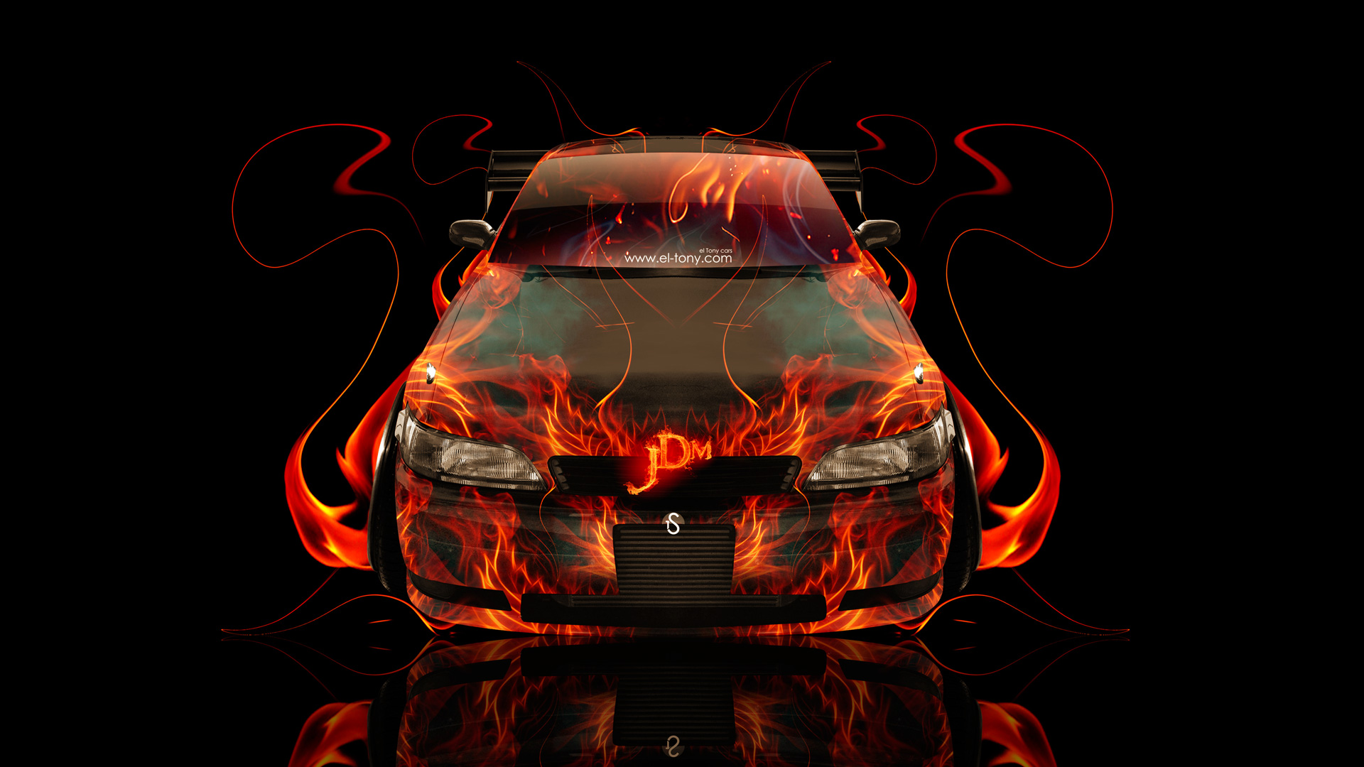 Toyota Mark2 JZX90 JDM Front Up Fire Abstract Car 2014
