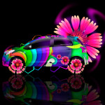 Toyota Vitz Side Fantasy Flowers Car 2014