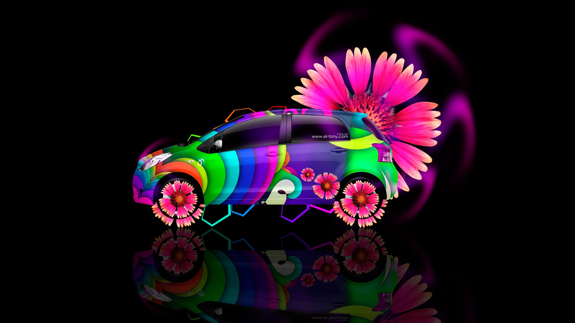 Amazing Bon Toyota Vitz Side Fantasy Flowers Car 2014 Multicolors
