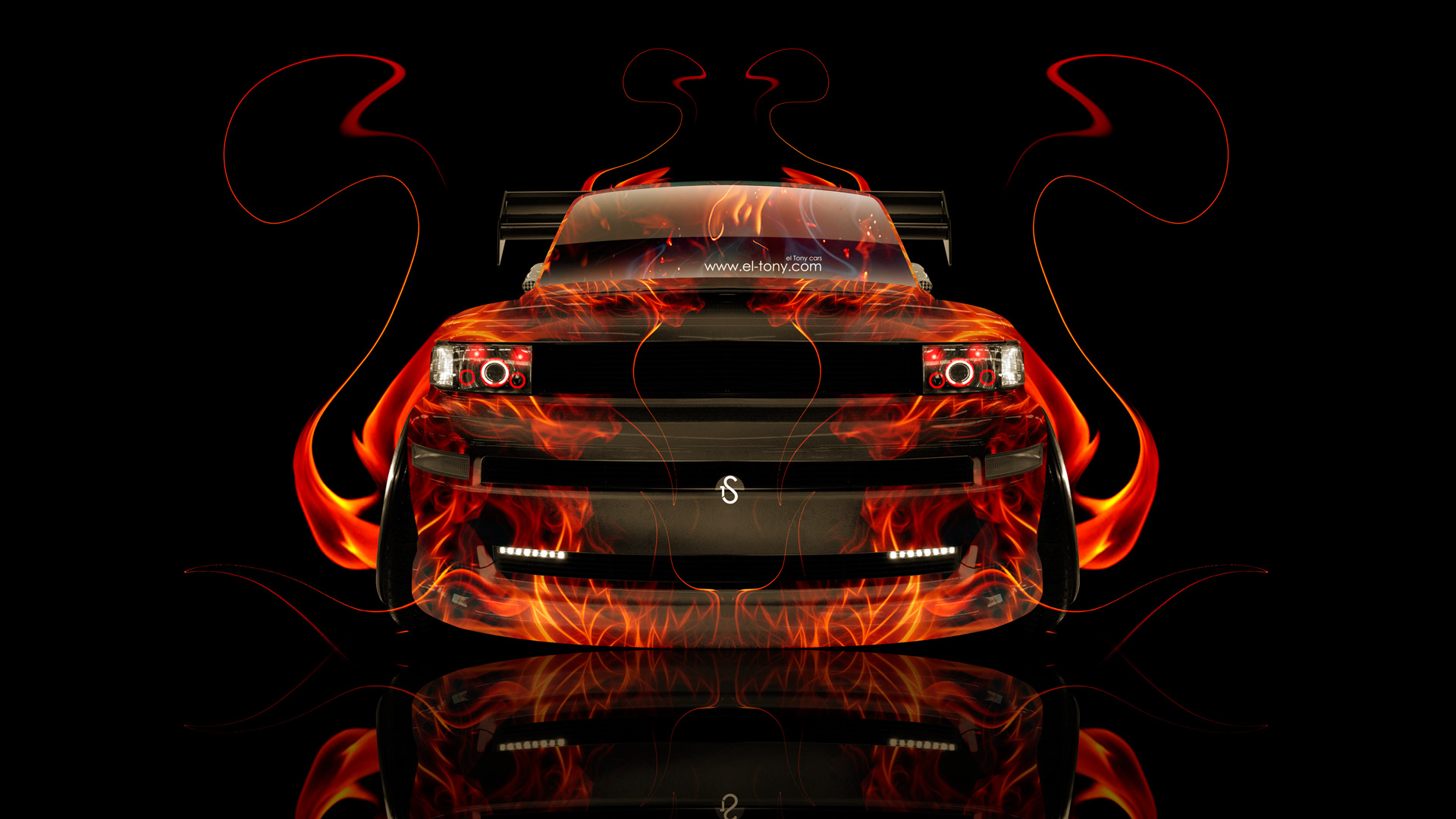 Toyota BB JDM Front Fire Abstract Car 2014