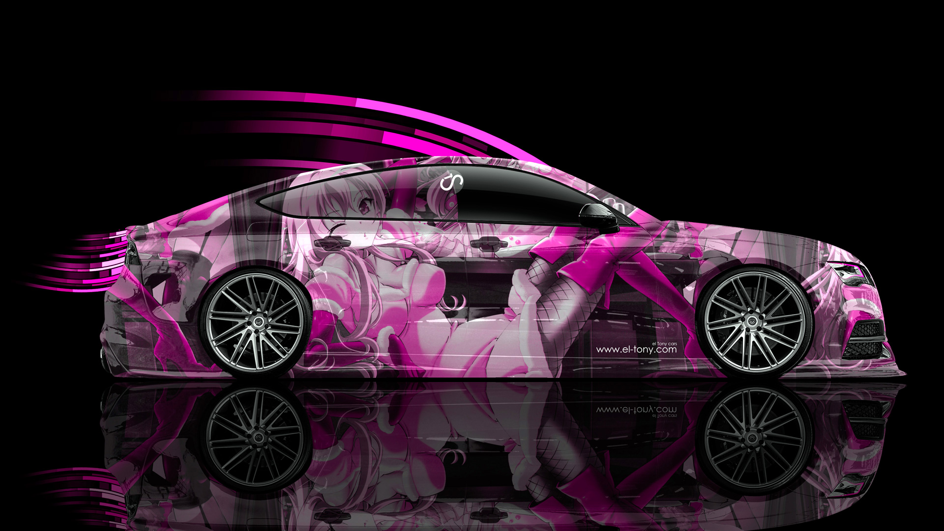 Audi S7 Side Anime Aerography Girl Car 2014
