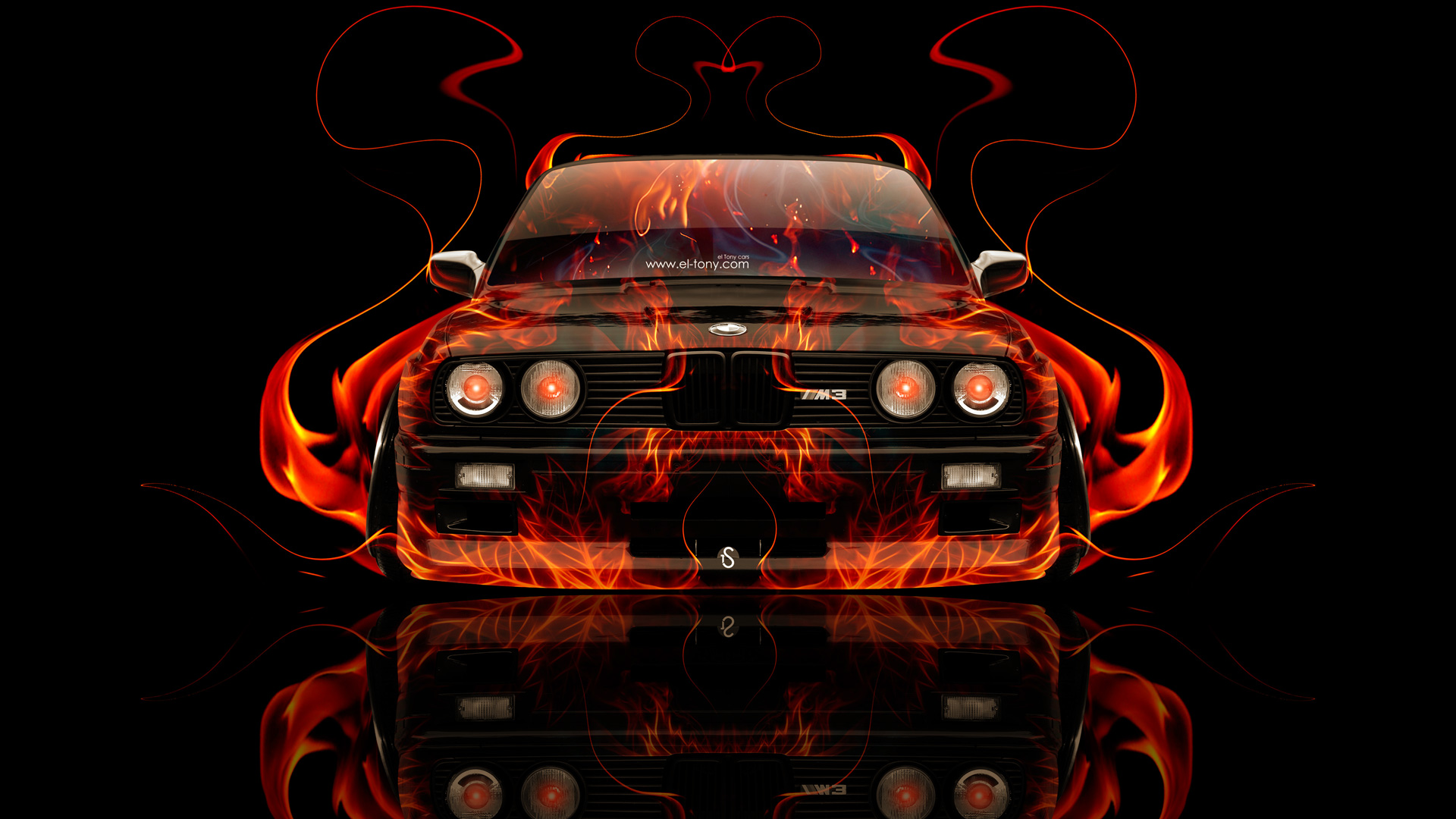 BMW M3 E30 Front Fire Abstract Car 2014