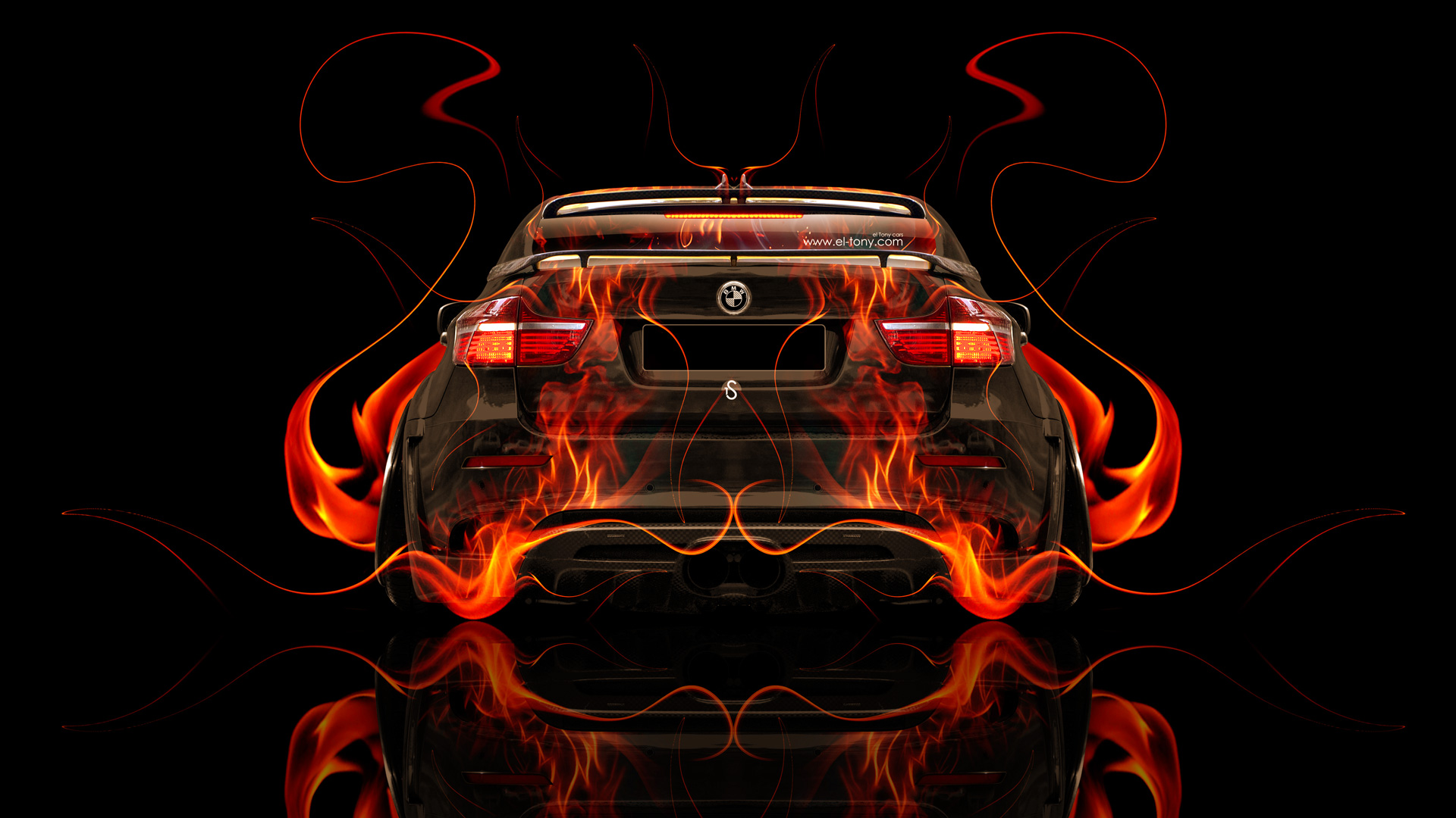 Good BMW X6 Back Fire Abstract Car 2014 Photoshop
