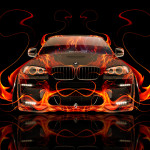 BMW X6 Front Fire Abstract Car 2014
