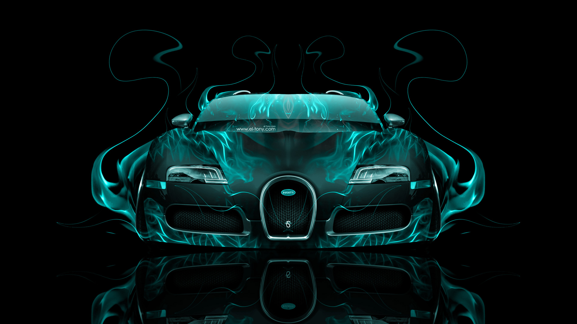 Gentil ... Bugatti Veyron Front Azure Fire Abstract Car 2014