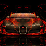 Bugatti Veyron Front Fire Abstract Car 2014