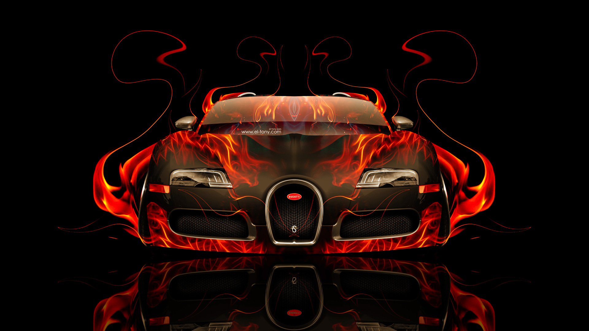 Merveilleux Bugatti Veyron Front Fire Abstract Car 2014 HD