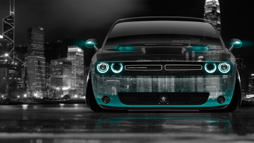 Dodge-Challenger-Muscle-Front-Crystal-City-Car-2014-Azure-Neon-HD-Wallpapers-design-by-Tony-Kokhan-[www.el-tony.com]