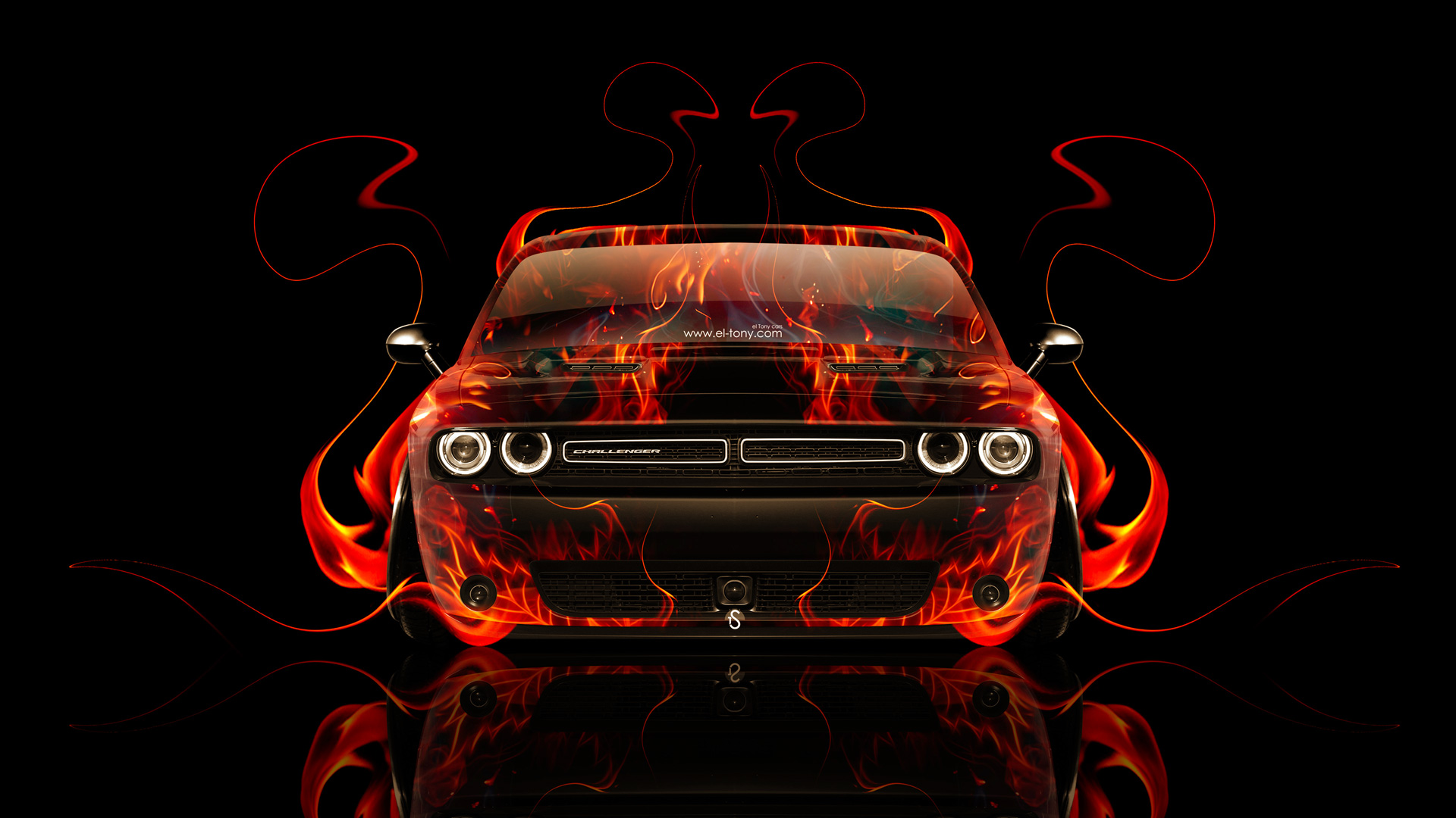 Superior Dodge Challenger Muscle Front Fire Abstract Car 2014