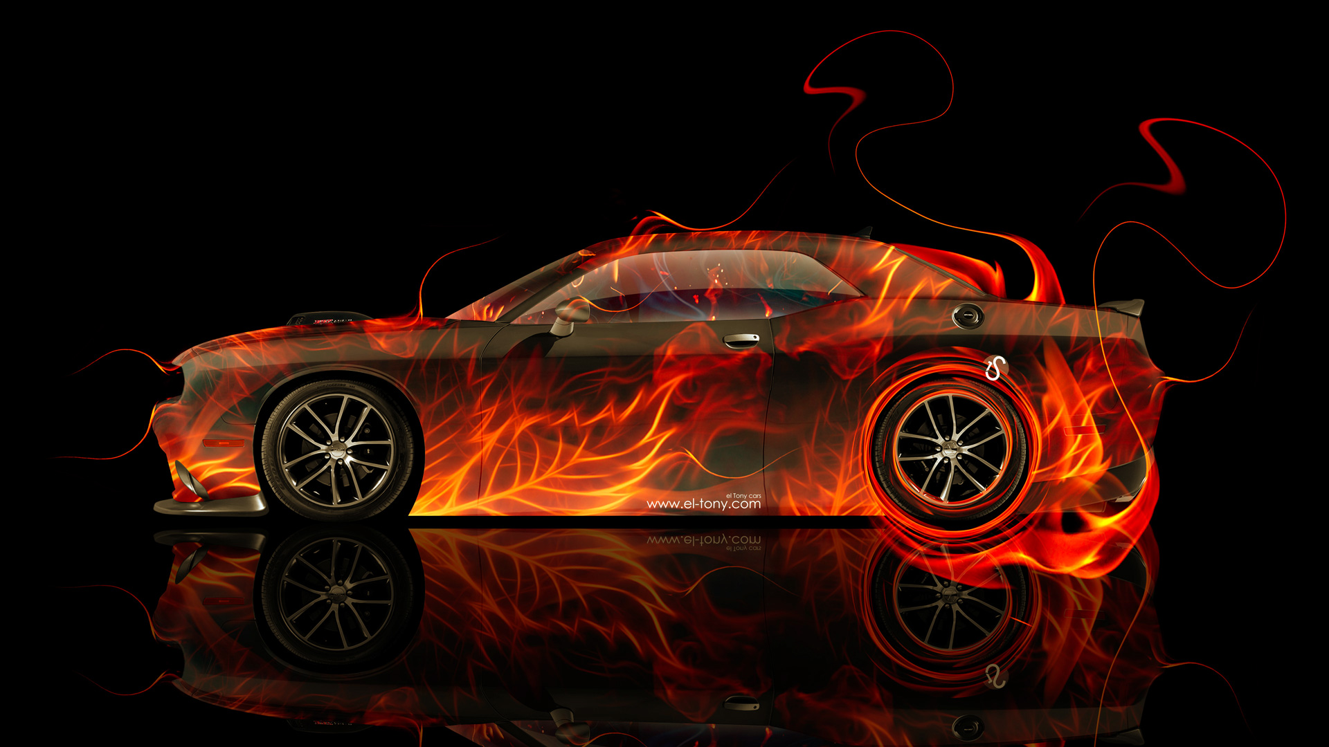 Captivating Dodge Challenger Muscle Side Fire Abstract Car 2014  Home Design Ideas