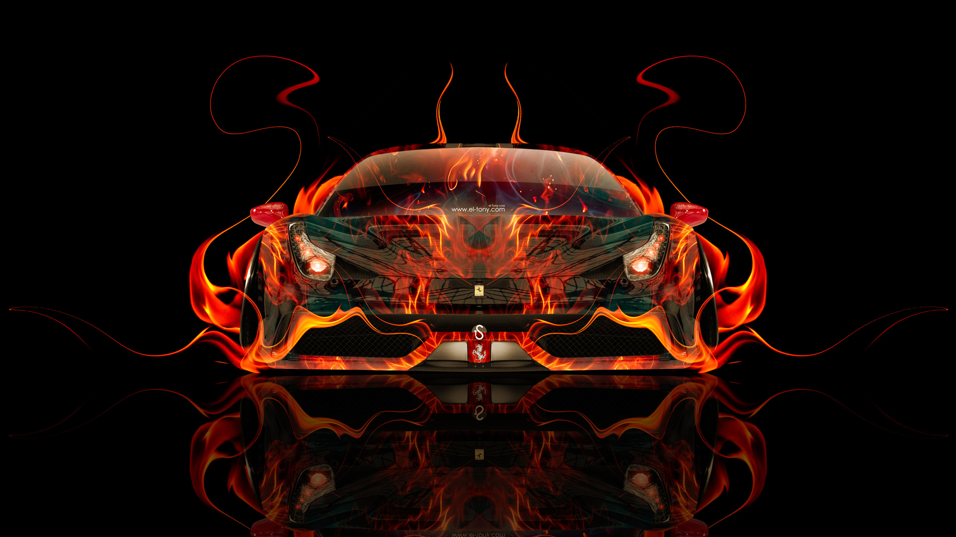 Ferrari 458 Italia Front Fire Abstract Car 2014
