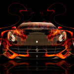 Ferrari F12 Berlinetta Front Fire Abstract Car 2014