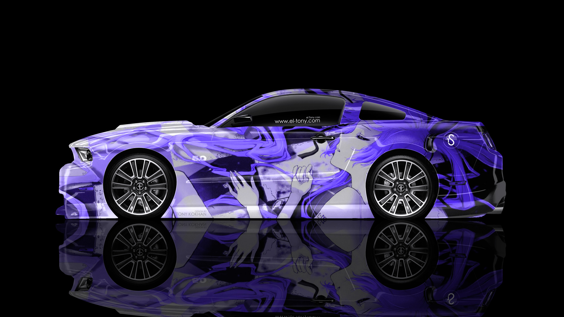 ford mustang gt muscle side anime girl aerography - Mustang 2014 Purple