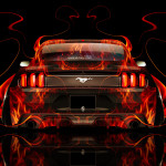 Ford Mustang Muscle Back Fire Abstract Car 2014