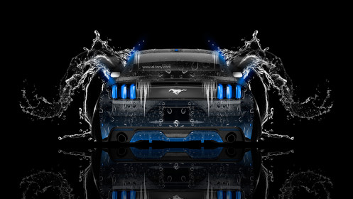 Ford-Mustang-Muscle-Back-Water-Car-2014-Blue-Neon-HD-Wallpapers-design-by-Tony-Kokhan-[www.el-tony.com]