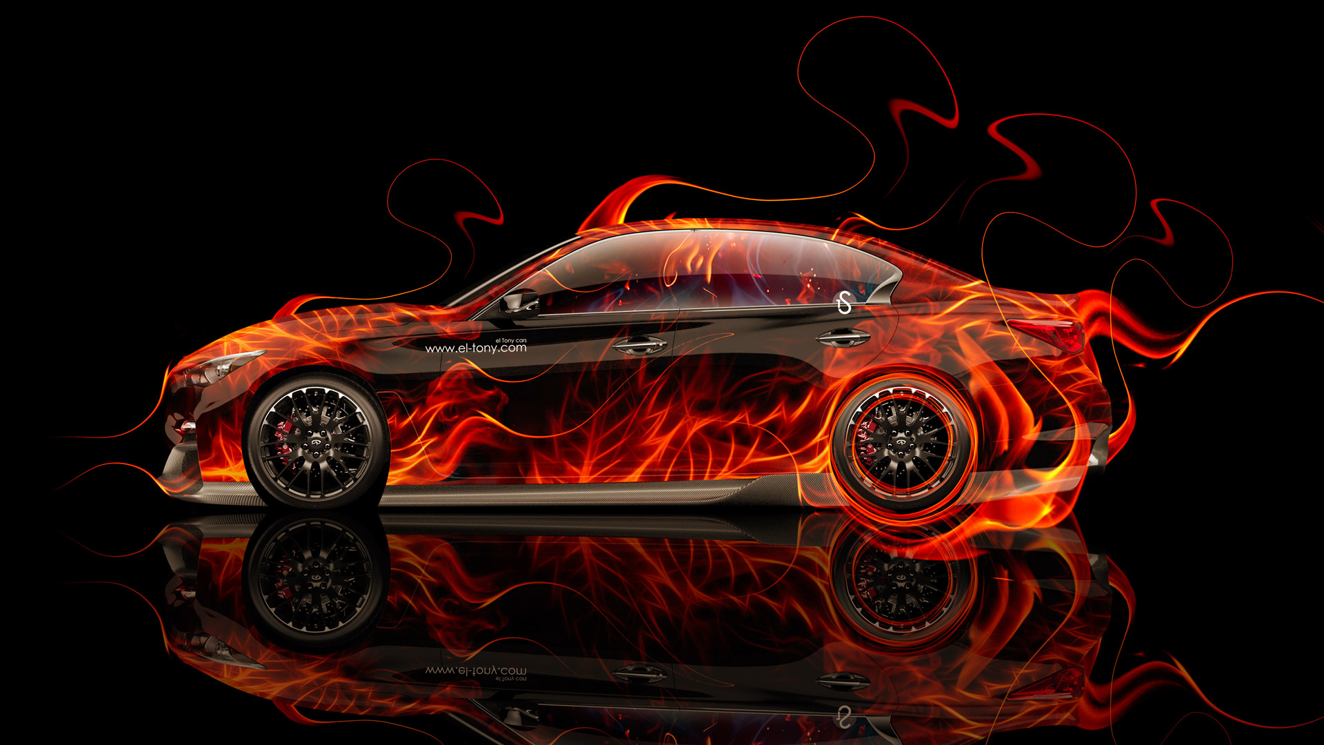 Infiniti Q50 Side Fire Abstract Car 2014 HD