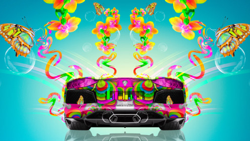 Lamborghini-Aventador-Back-Fantasy-Butterfly-Flowers-Car-2014-Multicolors-HD-Wallpapers-design-by-Tony-Kokhan-[www.el-tony.com]