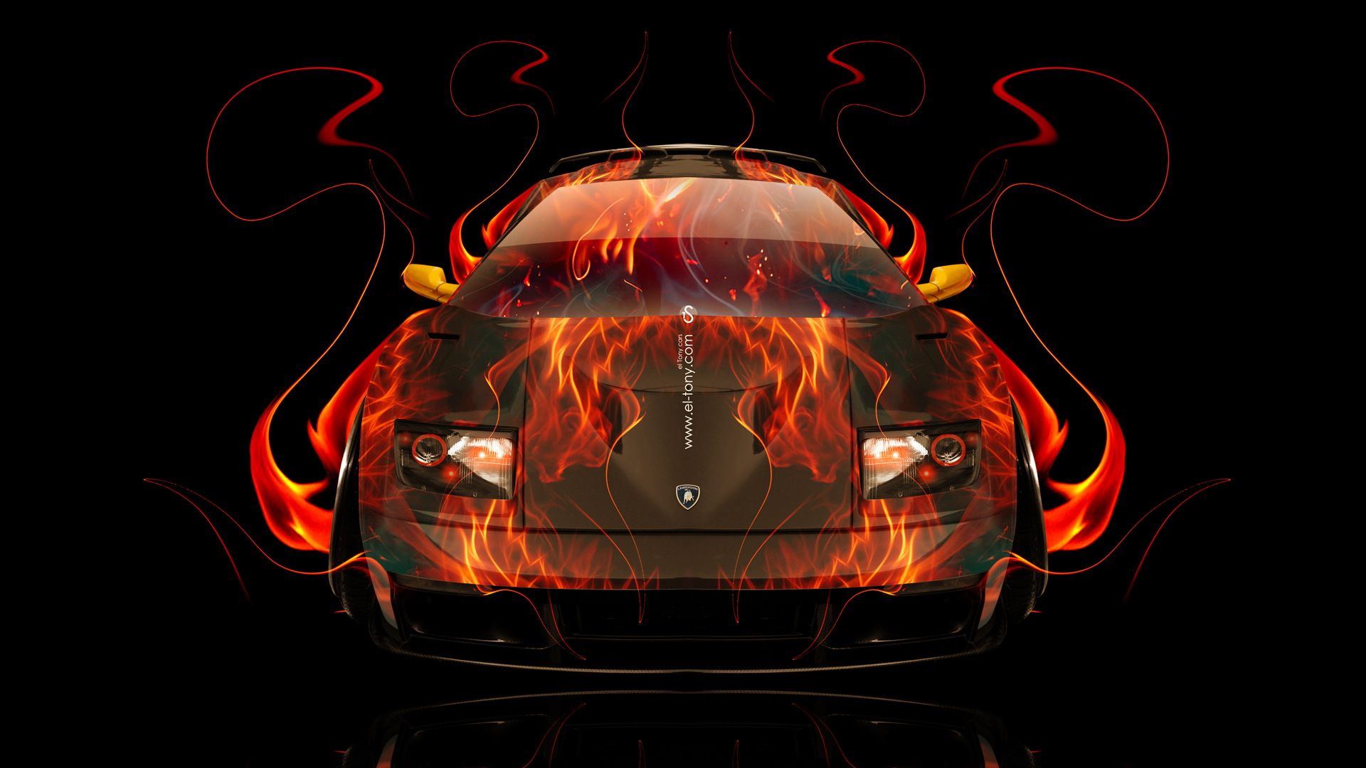 Charming Lamborghini Diablo FrontUp Fire Abstract Car 2014 HD