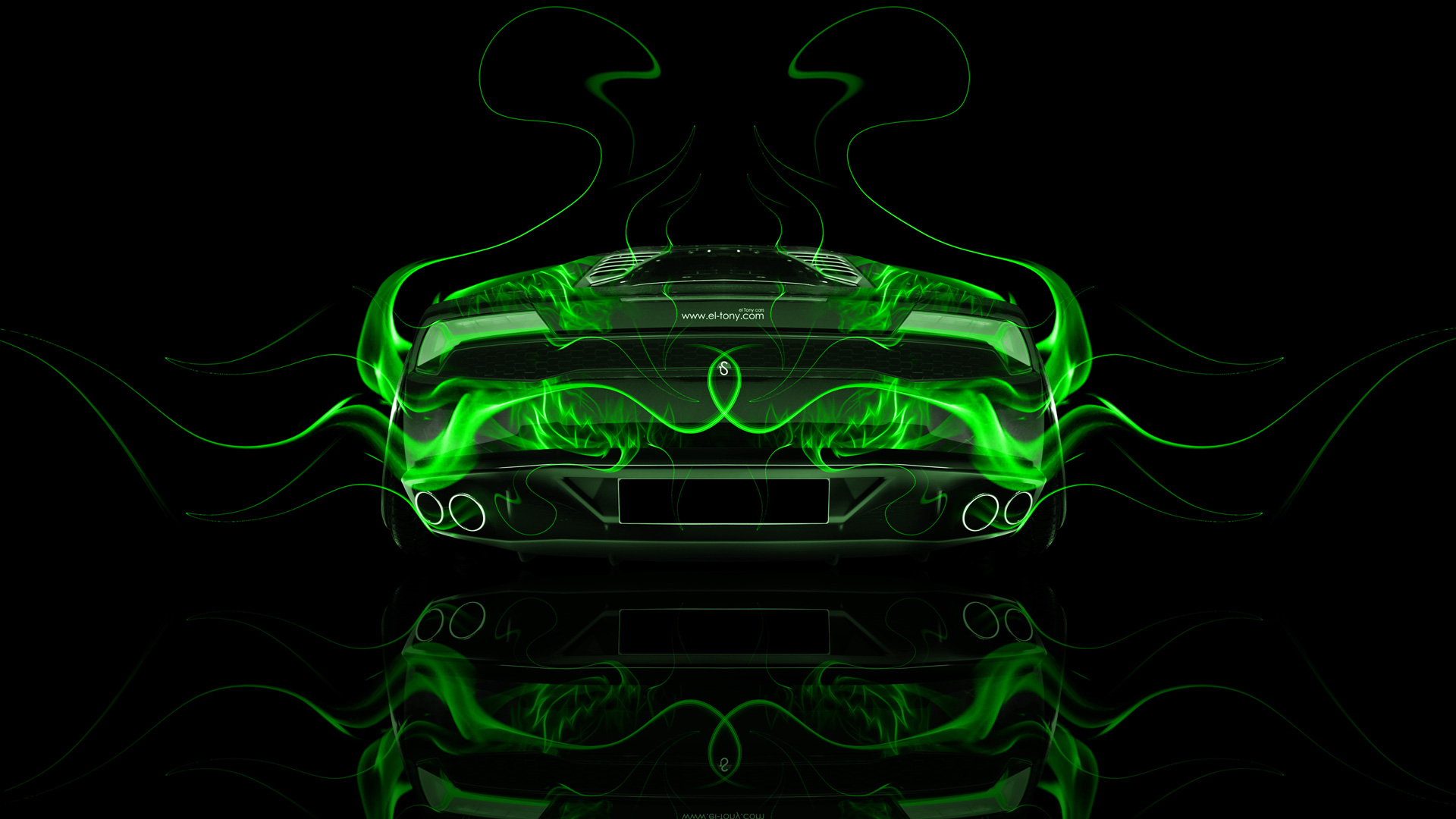 ... Lamborghini Huracan Back Green Fire Abstract Car 2014  ...
