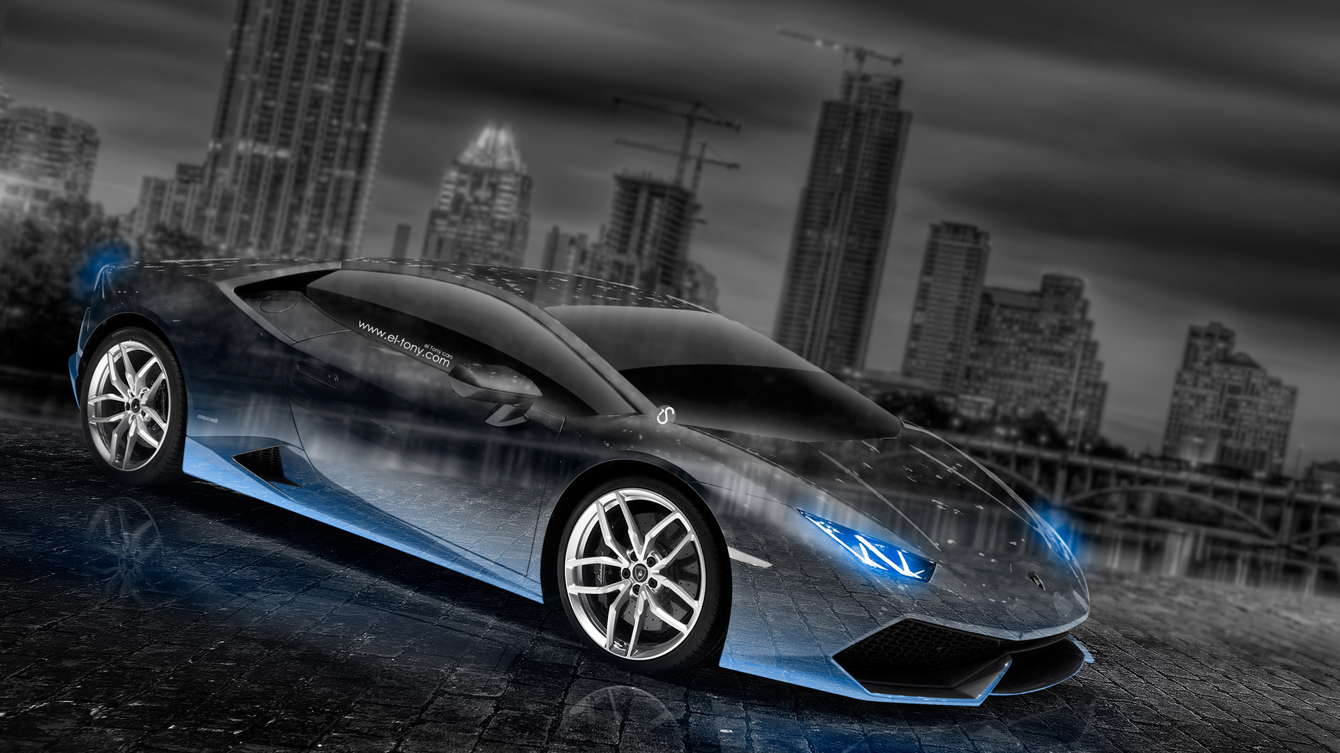 ... Lamborghini Huracan Crystal City Car 2014 Blue Neon  ...