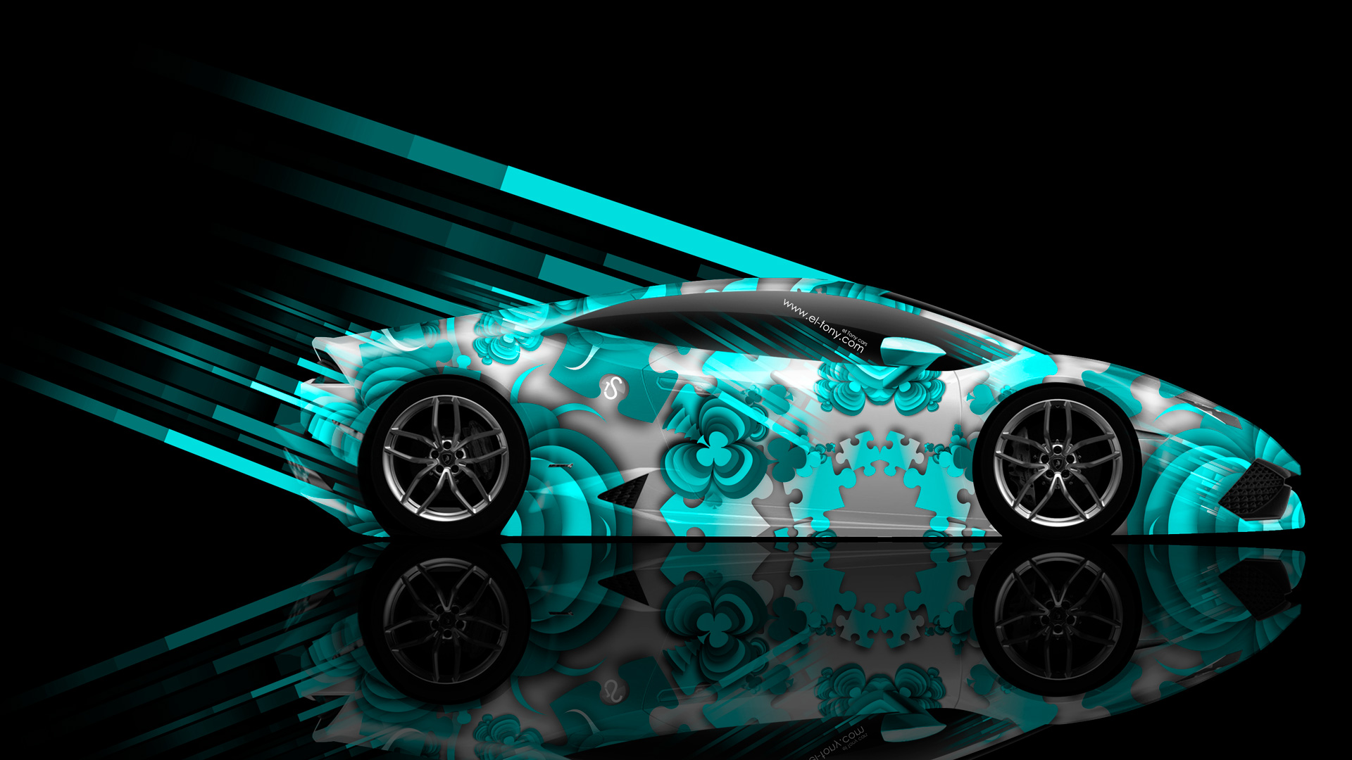 Bon ... Lamborghini Huracan Side Abstract Aerography Car 2014 Azure