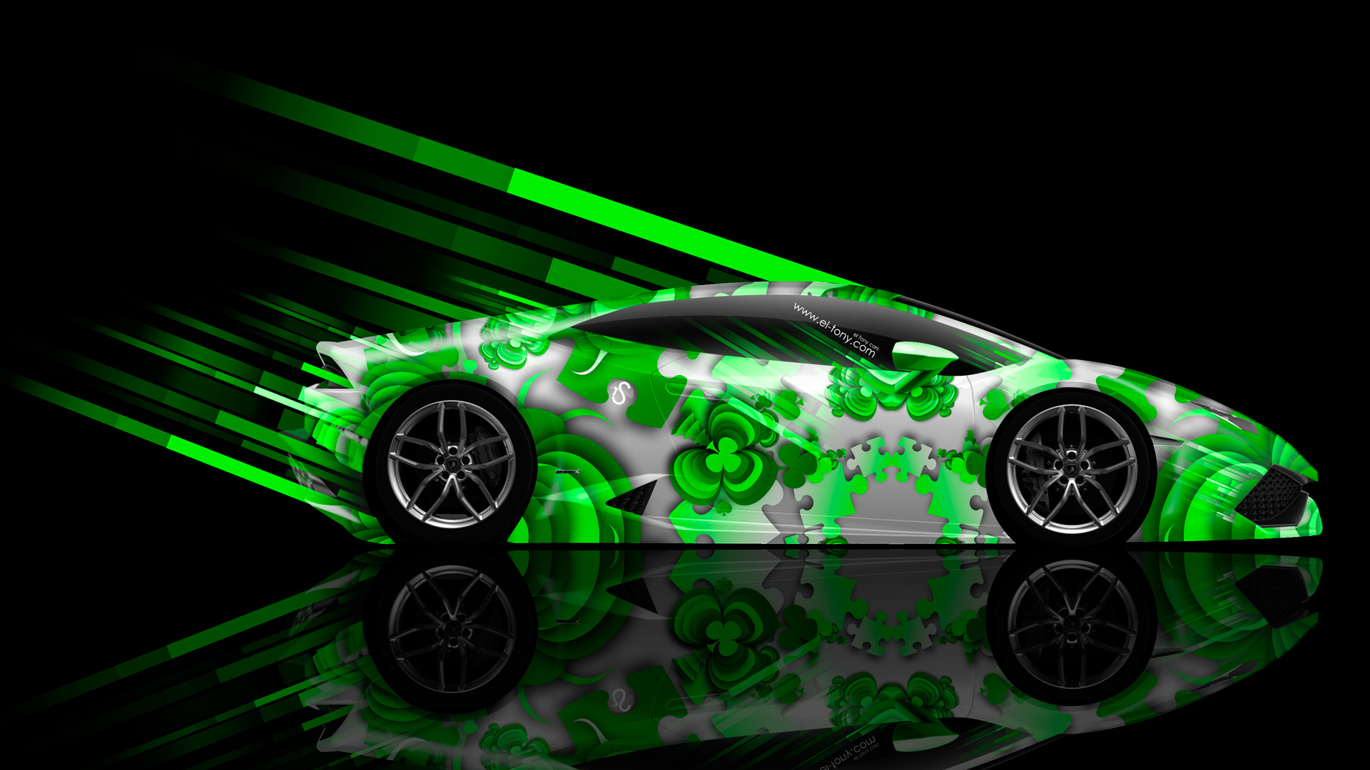 ... Lamborghini Huracan Side Abstract Aerography Car 2014 Green  ...