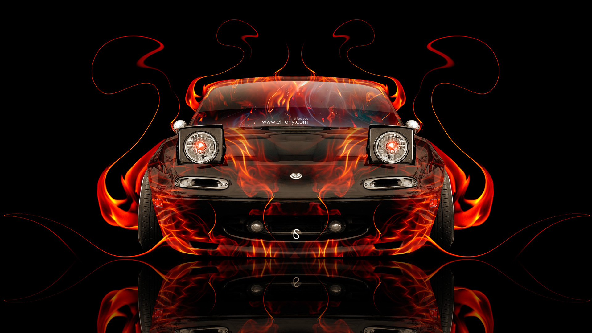 ... Mazda Miata JDM Front Fire Abstract Car 2014