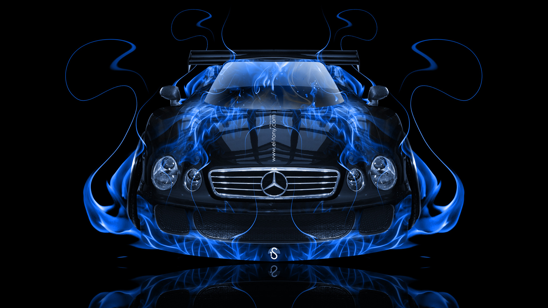 Marvelous ... Mercedes Benz CLK GTR FrontUp Blue Fire Abstract  ...