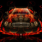 Mercedes-Benz CLK GTR Fire Abstract Car 2014