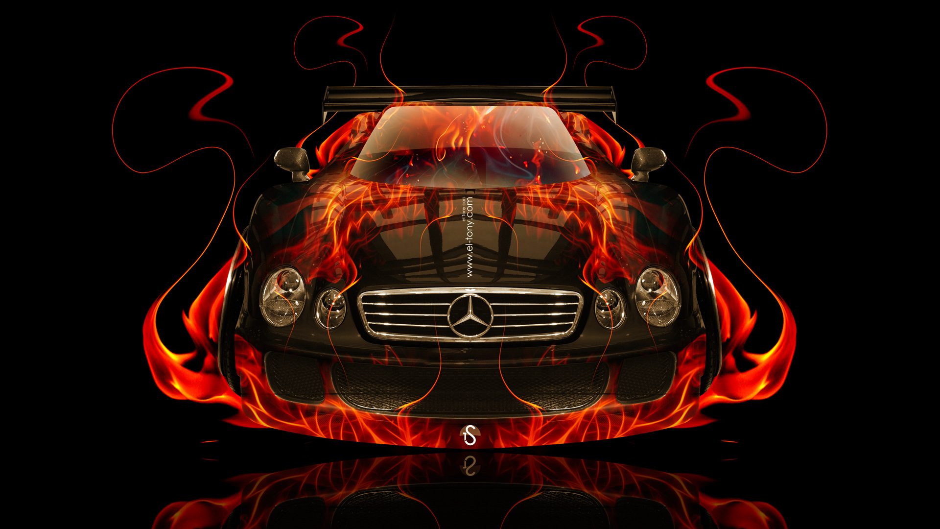 Mercedes-Benz CLK GTR Fire Abstract Car 2014 | el Tony