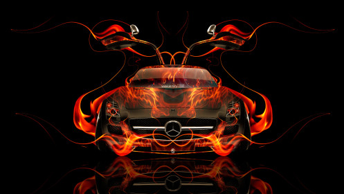 Mercedes-SLS-AMG-Open-Doors-Front-Fire-Abstract-Car-2014-HD-Wallpapers-design-by-Tony-Kokhan-[www.el-tony.com]