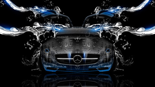 Mercedes-SLS-AMG-Open-Doors-Front-Water-Car-2014-Photoshop-Blue-Neon-HD-Wallpapers-design-by-Tony-Kokhan-[www.el-tony.com]