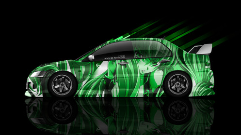 Mitsubishi-Lancer-Evolution-JDM-Side-Anime-Aerography-Car-2014-Green-Colors-HD-Wallpapers-design-by-Tony-Kokhan-[www.el-tony.com]