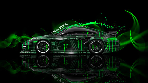Monster-Energy-Porsche-911-GT2-Side-Plasitc-Car-2014-Green-Colors-HD-Wallpapers-design-by-Tony-Kokhan-[www.el-tony.com]