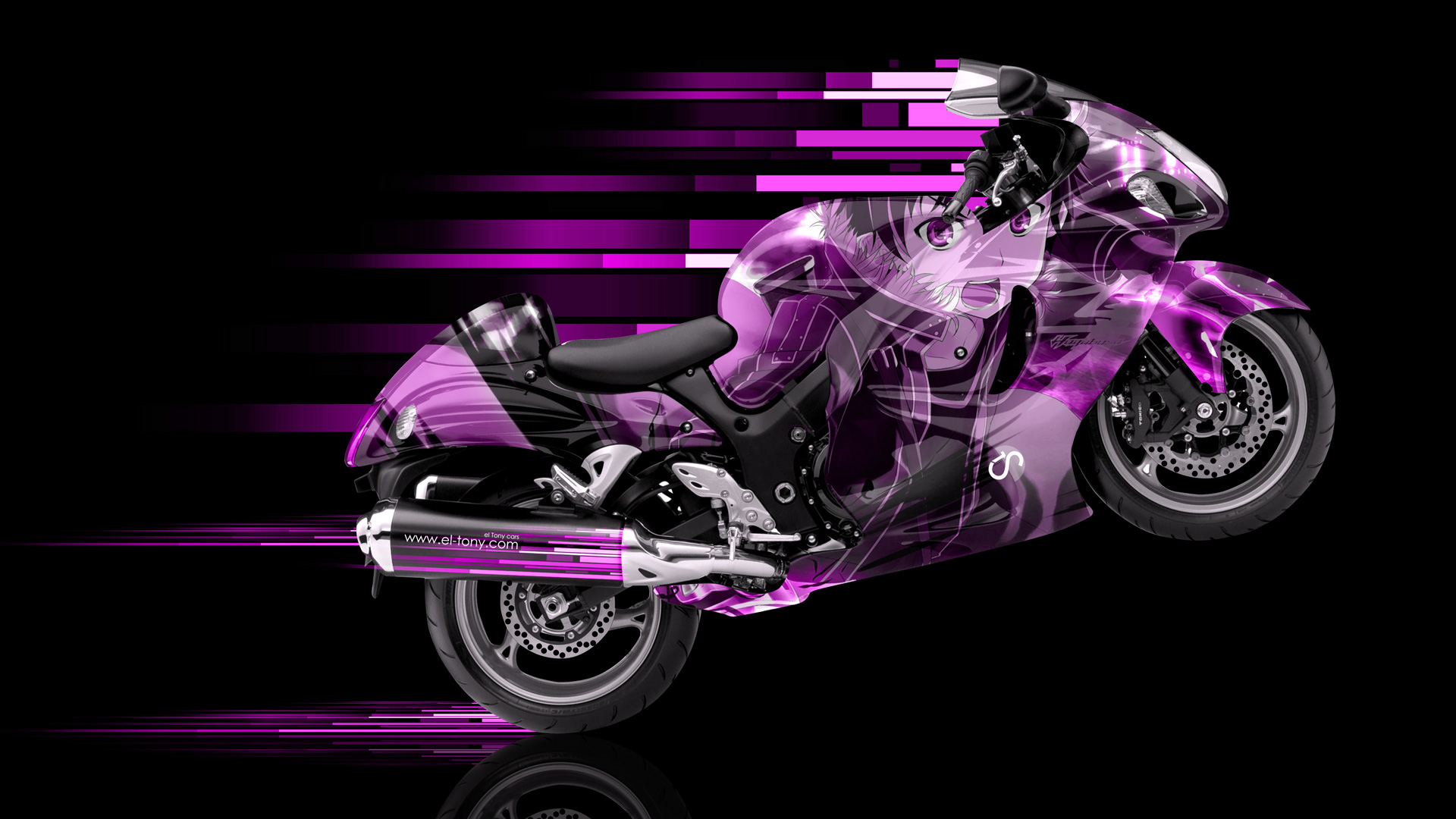 Moto Suzuki Hayabusa Side Anime Aerography Abstract Bike Pink Colors Hd Wallpapers Design By Tony Kokhan Www El Tony Com