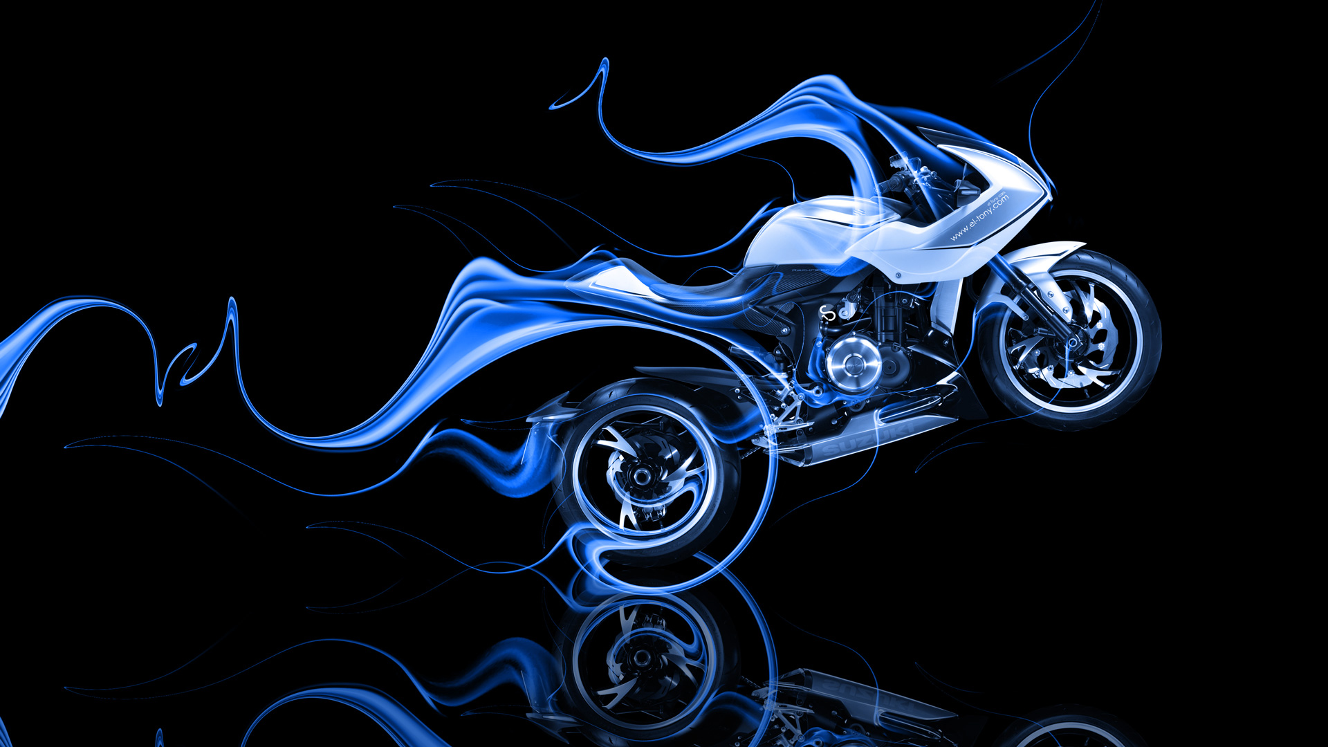 Ordinaire ... Moto Suzuki Recursion Side Blue Fire Abstract Bike  ...