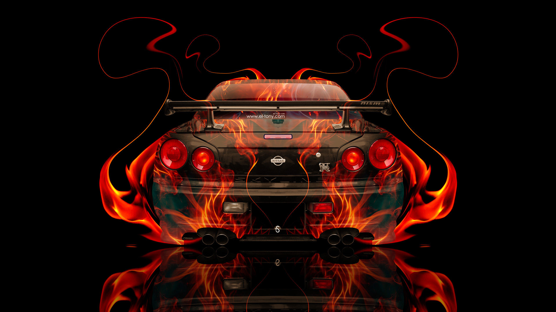 Elegant Nissan Skyline GTR R34 JDM BackUp Fire Abstract
