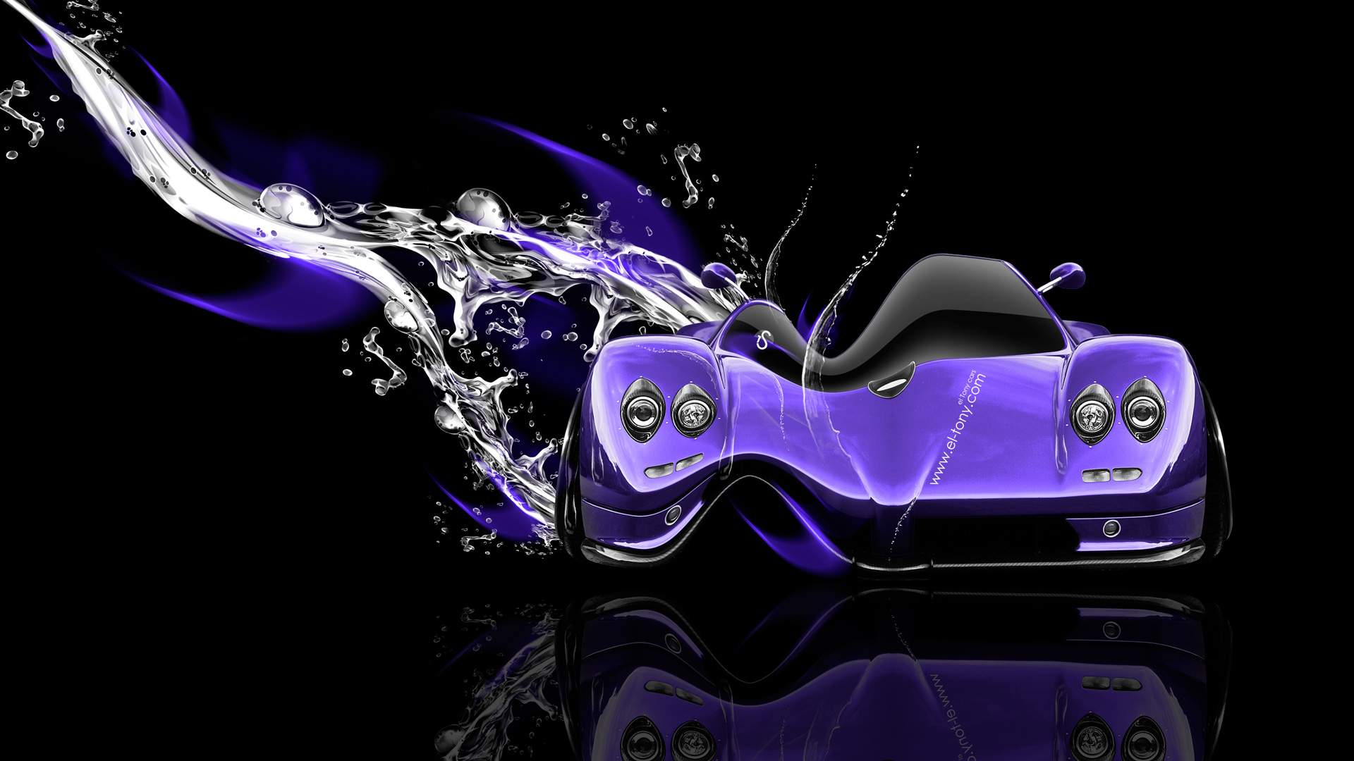 Pagani-Zonda-C12-Fantasy-Water-Plastic-Car-2014-Photoshop-Art-Violet-Neon-HD-Wallpapers-design-by-Tony-Kokhan-[www.el-tony.com]