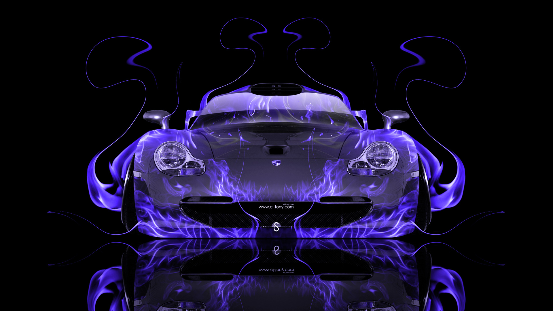 High Quality Porsche 911 GT1 Front Violet Fire Abstract Car  ...