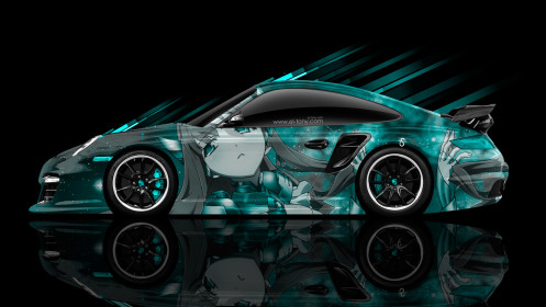 Porsche-911-GT2-Side-Anime-Aerography-Car-2014-Photoshop-Art-Azure-Colors-HD-Wallpapers-design-by-Tony-Kokhan-[www.el-tony.com]