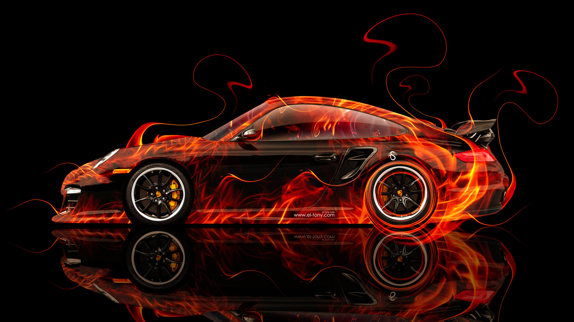 Amazing Superieur Porsche 911 GT2 Side Fire Abstract Car 2014