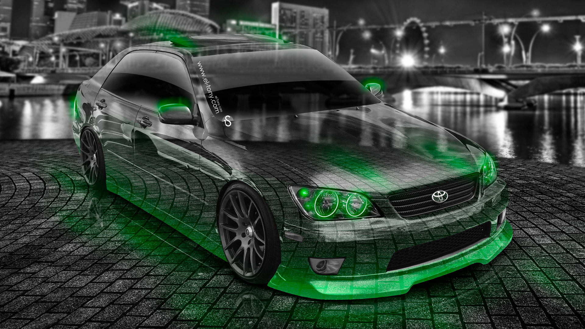 Toyota Altezza Jdm Crystal City Car Green Neon Hd Wallpapers Design By Tony Kokhan Www El Tony Com