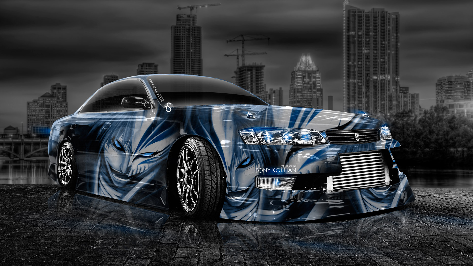 Toyota Mark 2 Jzx100 Jdm Crystal City Car 2014 Blue Neon Design By .