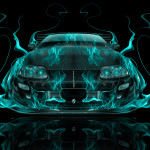 Toyota Supra JDM Front Fire Abstract Car 2014