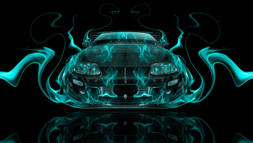 Toyota-Supra-JDM-Front-Azure-Fire-Abstract-Car-2014-HD-Wallpapers-design-by-Tony-Kokhan-[www.el-tony.com]