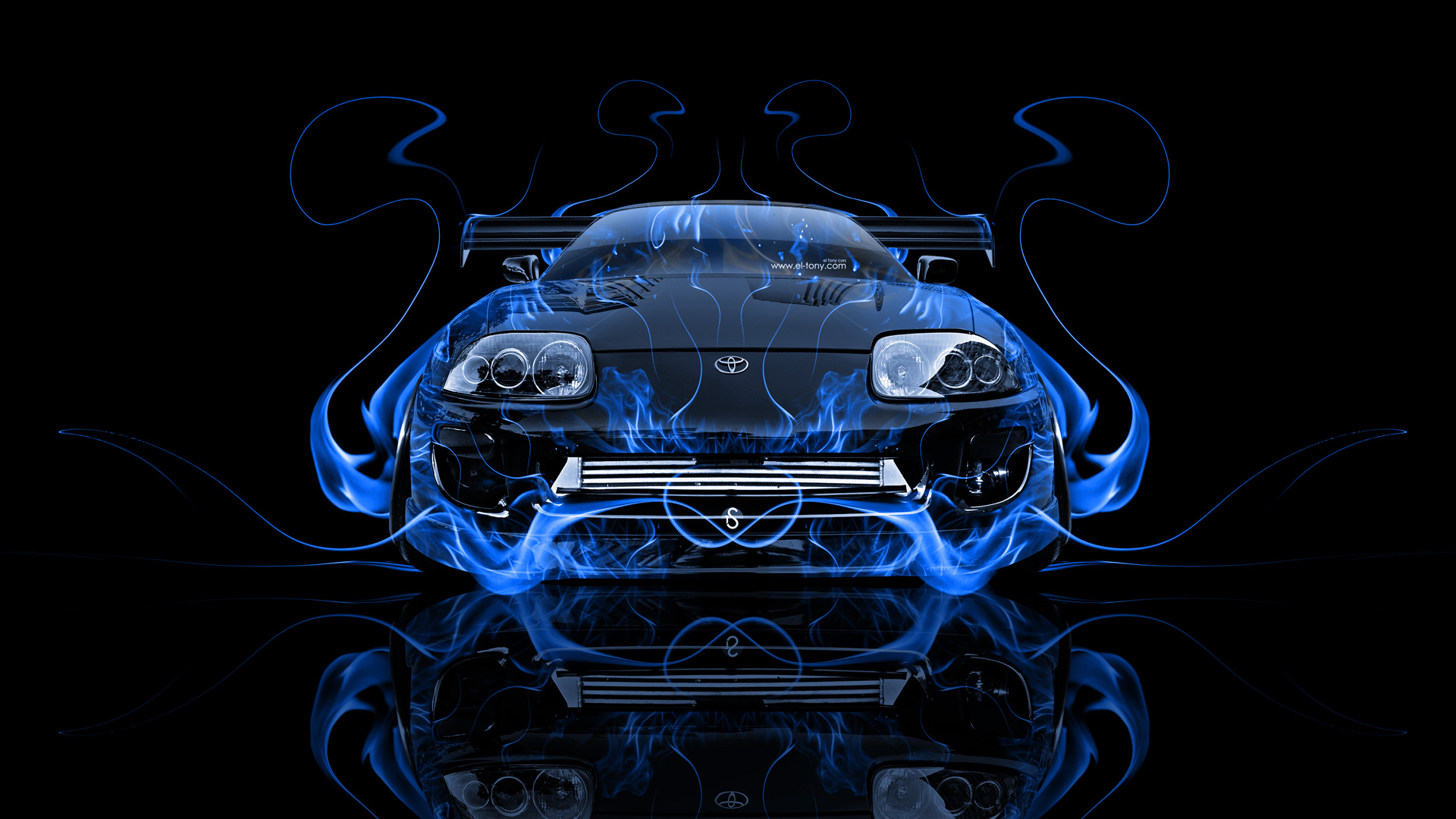 Exceptional ... Toyota Supra JDM Front Blue Fire Abstract Car  ...